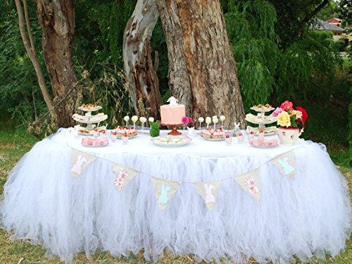 White Handmade Tulle Table Skirt for Wedding Head Bridal Baby Shower Decoration]()
