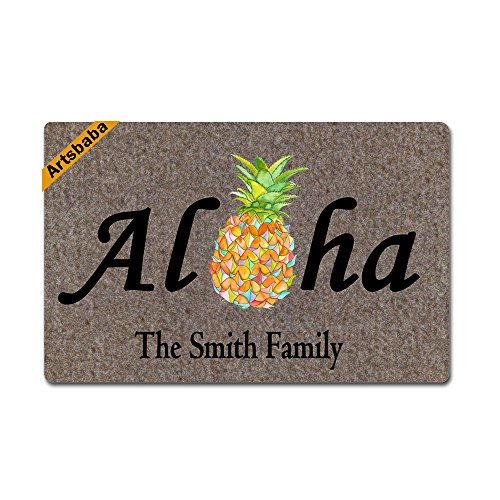 Artsbaba Welcome Doormat Aloha Pineapple Door Mat Monogram Non-Slip Doormat Non-Woven Fabric Floor Mat Indoor Entrance Rug Decor Mat 23.6 x 15.7 Inches