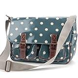 Oilcloth Polka dots Star Messenger Cross Body Satchel Shoulder School Saddle Bag (Sea Green)
