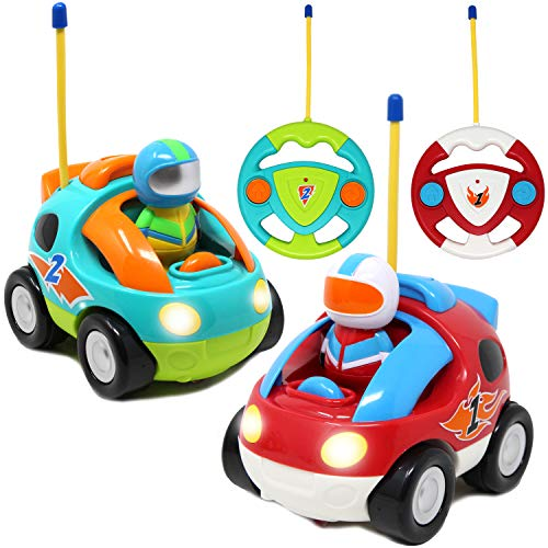 JOYIN 2 Pack Cartoon RC Race Car Radio Remote Control with Music & Sound Toy for Baby, Toddler, Kids and Children Cars, School Classroom Prize, 2 Year Old Easter Basket Stuffer Fillers