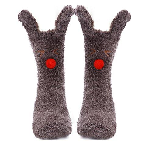 Winter Animal Slipper Socks Warm Fluffy Christmas Socks Coral Casual Socks Fuzzy Home Stockings Anti-slip Indoor Floor Socks (Reindeer)
