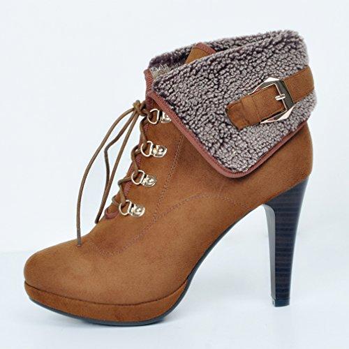 Hot Faux Scarpe Brown High Heel Boots Kolnoo Up Metal Buckle Fashion Lace invernali Women Fur Y7q8w8A
