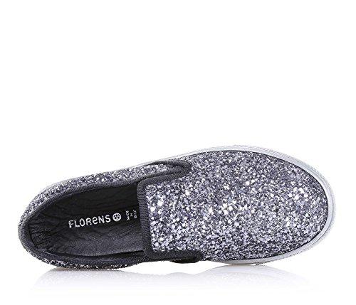 FLORENS - Silberner Slipper aus Glitzern, seitliche elastische Einsätze, sichtbare Nähte und Gummisohle, Mädchen, Damen
