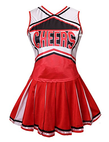 Colorful House Womens Cheerleader Costume Uniform Fancy Dress (Size L, Red) ()