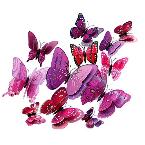 Finance Plan Hot Sale 12Pcs 3D Two-Layer Colorful Artificial Butterflies Adhesive Magnet Wall Sticker