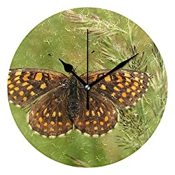 FAJRO Brown Butterfly Wall Clock Silent Round Decorative Wall Clock