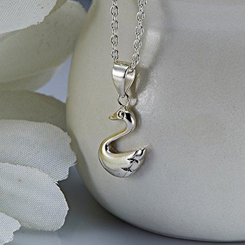 usongs S925 silver necklace pendant women girls Sen Department sweet and cute little duck swan necklace pendant Super Meng short paragraph clavicle chain