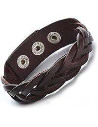 Genuine Leather Bracelet Braided Wide Wristband Punk Jewelry