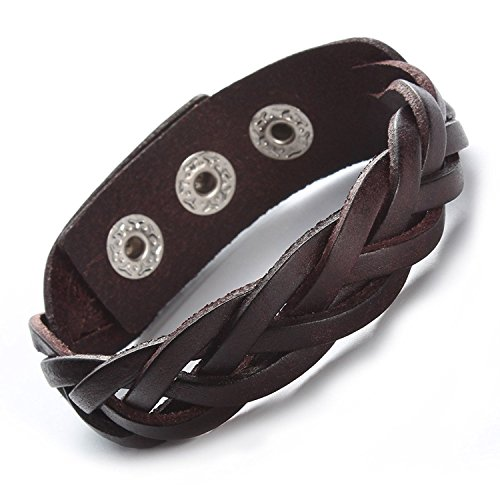 Leather Bracelet Brown Tone Braided Wide Wristband Women Men Punk Jewelry With Gift Box (Mens Braided Bracelet Brown)