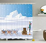ice house sled - Lunarable Husky Shower Curtain, Musher is Pulled by a Dog Sled Team Travelling on Ice Ground in a Snowy Weather Image, Cloth Fabric Bathroom Decor Set with Hooks, 84 Inches Extra Long, Multicolor