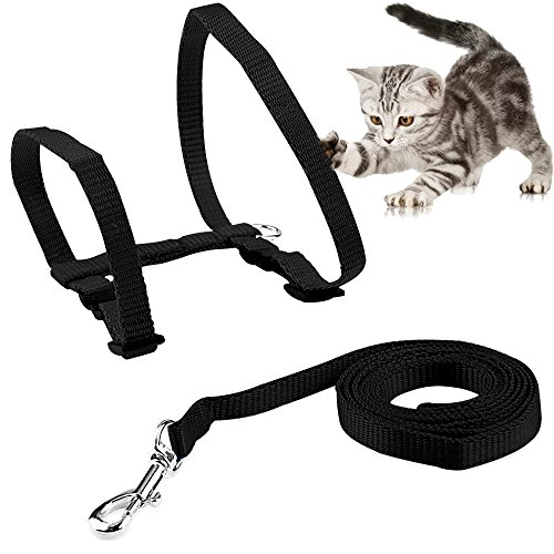 ONSON Cat Harness, Adjustable Harness Nylon Strap Collar with Leash, Cat Leash and Harness Set, for Cat and Small Pet Walking (Black)