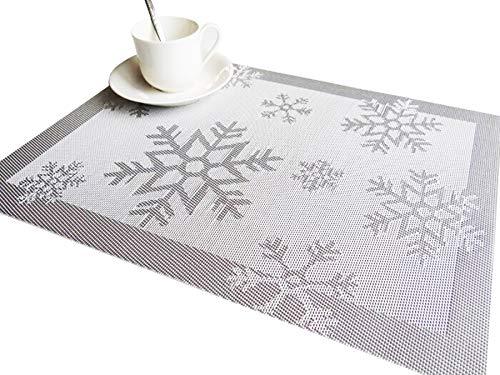 Rimobul Winter Snowflake Woven Vinyl Placemat, Set of 6 ()
