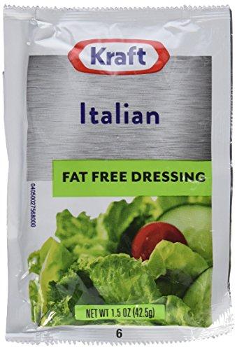 Kraft Fat Free Italian Salad Dressing Packet, 1.5 oz. (Single serve salad dressings) Pack of 60 Dressing Fat
