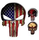 Pack of 3 Punisher Skull American Flag Vinyl Decal Stickers Car Truck Sniper Marines Army Navy Military Jeep Graphic 5