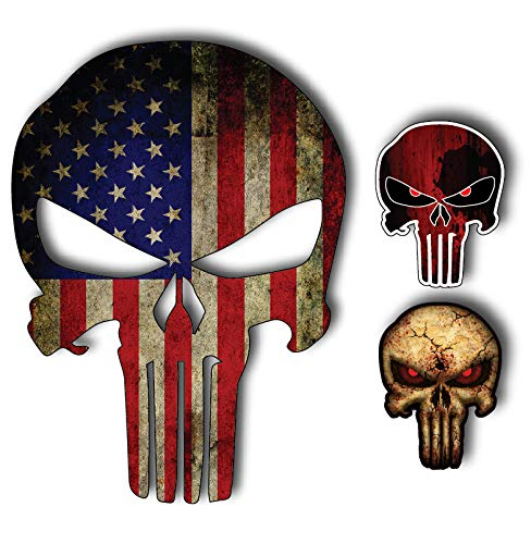 Vinyl Sticker Car Decal American (Pack of 3 Punisher Skull American Flag Vinyl Decal Stickers Car Truck Sniper Marines Army Navy Military Jeep Graphic 5