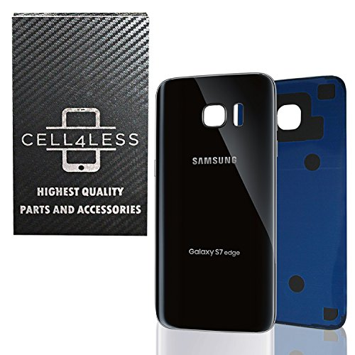 CELL4LESS Compatible Back Glass Cover Back Battery Door w/Pre-Installed Adhesive Replacement for Samsung Galaxy S7 Edge OEM - All Models G935 All Carriers- 2 Logo - OEM Replacement (Black Onyx)