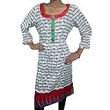 BOHO Long TUNIC Mantra Print Indian Hippie Ethnic KURTI Dress M