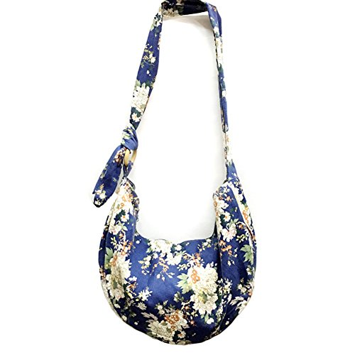 KARRESLY Large Bohemian Hippie Thai Top Zip Handmade Hobo Sling Crossbody Bag Purse Paisley Print with Adjustable Strap(2-719) - Zip Top Hobo Handbag