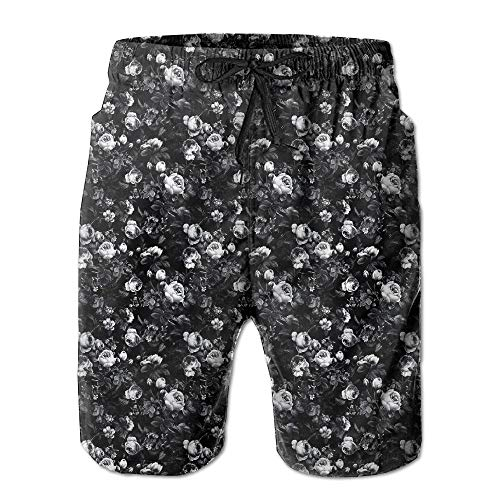 Roses Black and White Men's Swim Trunks Quick Dry Bathing Suits Summer Casual Surfing Beach Shorts