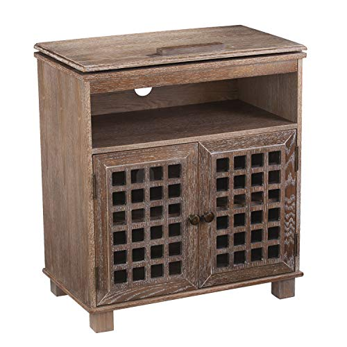 """(Furniture HotSpot Swivel Top TV Stand/Small Media Cabinet – Up to 26"""" TV (Oak Saddle))"""