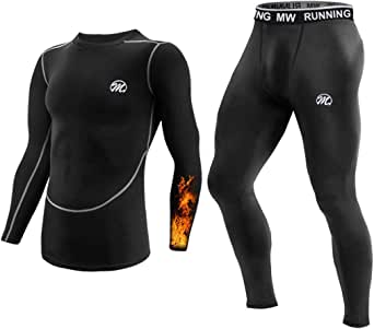 MeetHoo Conjuntos Térmicos para Hombre Transpirable Ropa Interior Térmica Secado Rápido Camiseta Manga Larga Pantalones Largos para Carrera Esquí y Fitness