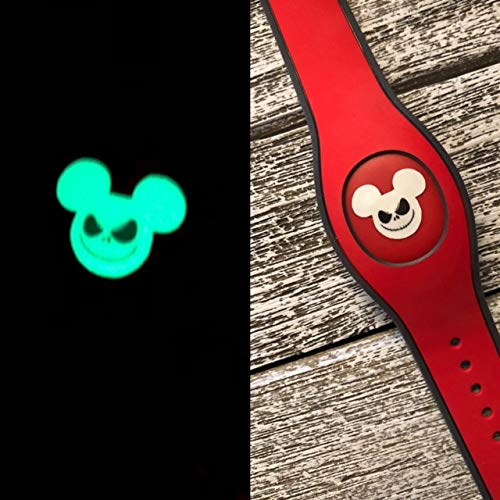 Set of 3 OVERSIZED Disney Magic Band 2.0 Decal Magic Band Skin Glow In The Dark Jack Skellington Inspired Mickey Head
