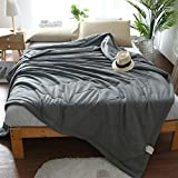 Uther Cotton Bed Quilt , Summer Quilt , Thin Comforter for Summer or Spring , Solid Color Pattern Quilt , King ( Grey)