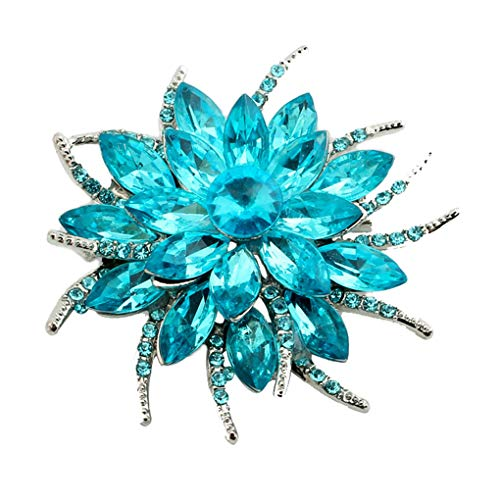 (Meoliny Fashionable Bouquet Flower Brooch Pin Charm Women Crystal Rhinestone Brooch for Wedding Bouquets Decoration,Sea Blue)