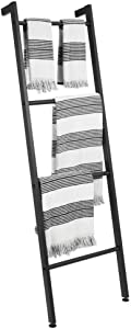 mDesign Metal Free Standing Bath Towel Bar Storage Ladder - Holds Towels, Blankets, Clothes and Magazines/Newspapers - 4 Levels - Matte Black