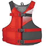 Stohlquist Waterware Fit Adult PFD Life Vest - Red, Universal Unisex Size Fitting - Easily Adjustable for Full Mobility, Lightweight Buoyancy Foam, PVC Free, Coast Guard Approved