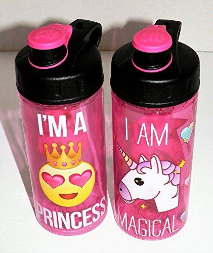 2 Pink Plastic Water Bottle Emoji - I'm a Princess - Unicorn Magical - Carry Loop BPA Free 16oz