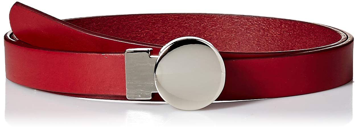 NYDJ Women's Circular Buckle Belt - Leather with Adjustable Circle Round O Ring for Fashion Jeans Pants Dresses, Red, Large