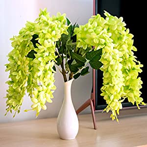 """Mavee 4 Pcs 23"""" Hanging Wisteria Silk Artificial Flower Bush (5 Stems) for Home, Wedding, Restaurant and Office Decoration 1"""