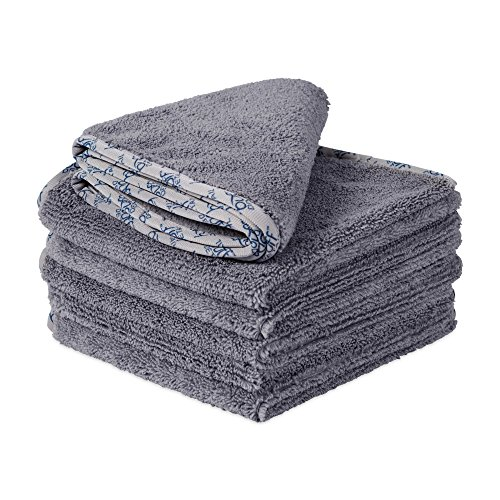 "Buff Detail 400 Automotive Microfiber Towel | All-Purpose Auto Detailing - Wax, Buff, Polish, Wash, Dry | Soft Satin Piped Edges | Lint Free | 16""x16"" 