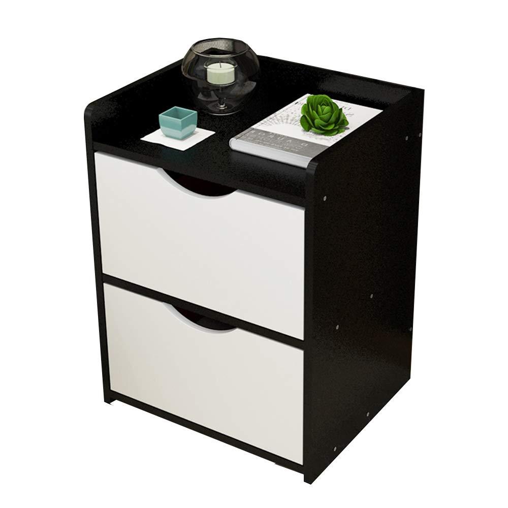 Schwarz Lagerregal ZHIRONG Schlafzimmer Möbel Nachttisch mit 1 Schubladen Schrank (Farbe   SCHWARZ)