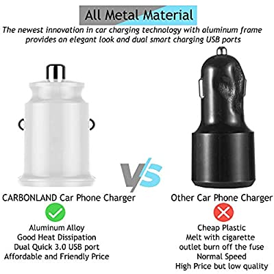 CARBONLAND Car Phone Charger with Dual USB Adapter Quick Charge 3.0 Port for Android and iOS Devices (White, 1 Pack)