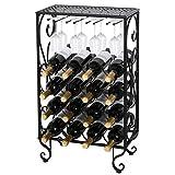 ZENY 16 Bottle Wine Rack with 8 Wine Glass Holder Solid Wrought Iron Floor Free Standing Wine Storage Organizer Holder Stand Display Rack (16 Bottle)