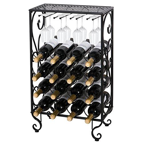 ZENY 16 Bottle Wine Rack with 8 Wine Glass Holder Solid Wrought Iron Floor Free Standing Wine Storage Organizer Holder Stand Display Rack (16 bottle) (Insert Glass Rack)