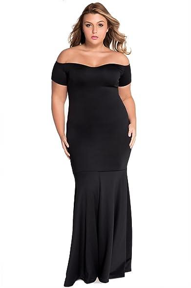 Off shoulder black maxi dress
