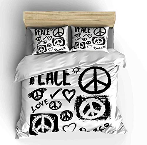 Vichonne Peace Sign Bedding Sets Full for Kids,3 Piece White Black Duvet Cover Sets with 2 Pillowcases for Teens Boys Girls Bedroom Decorative,No Comforter