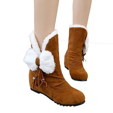 d4219788e79a6 Amazon.com: Memela Women Snow Boots Faux Shearling Buckle Straps Low ...