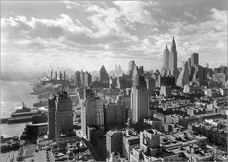 New York Anni 70.Poster 100 X 70 Cm New York Manhattan Skyline 1930 By