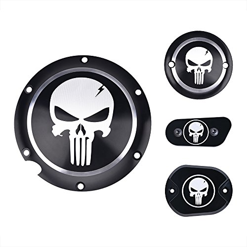 Frenshion 1 Set CNC Aluminium Skull Clutch Timing Cover Derby Timer Cover Air Cleaner Covers Motorcycle Accessories for Harley Davidson Iron XL883 - Cleaner Cover Set
