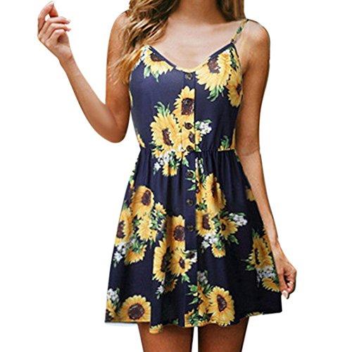 (OldSch001® Big Promotion Dresses,Ladies Sunflower Print Strap Button Party Mini Dress (Navy,)