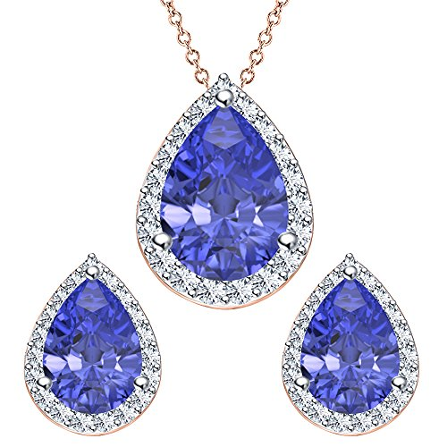 Shape Set Earrings Tanzanite - Pear Shape Blue Tanzanite & White CZ Diamond 14k Rose Gold Plated 925 Sterling Silver Teardrop Jewelry Set Earrings Pendant Necklace