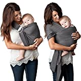 Baby : 4 in 1 Baby Wrap Carrier and Ring Sling by Kids N' Such | Charcoal Gray Cotton | Use as a Postpartum Belt and Nursing Cover with Free Carrying Pouch | Best Baby Shower Gift for Boys Or Girls