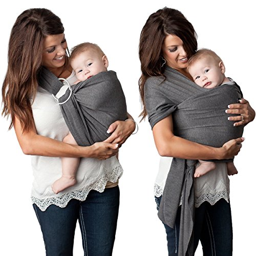 4 in 1 Baby Wrap Carrier and Ring Sling by Kids N' Such | Charcoal Gray Cotton | Use as a Postpartum Belt and Nursing Cover with Free Carrying Pouch | Best Baby Shower Gift for Boys or Girls Balboa Baby Sling