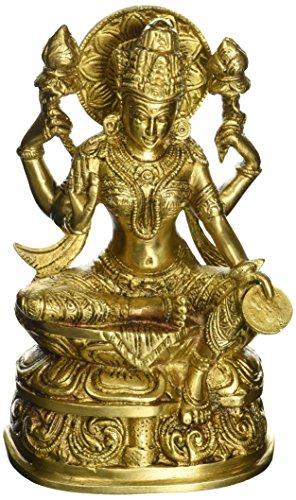 Lakshmi Idol Goddess Hinduism Belief Statue and Sculpture; Brass; 4.75 X 2.5 X 8 Inches]()