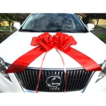 Weebumz Giant Bows For Car - Big Bow For A Huge Gift. Large Ribbon Pull-Bows Make An Outdoor Decoration, & Are Decorative For Any Presents - 23-Inch, Red