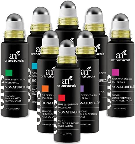 ArtNaturals Essential Oils Rollerball Blends - (8 x .33 Fl Oz / 10ml Roller Bottles) - Aromatherapy Roll On Gift Set - Jojoba Oil - Sleep and Stress – Signature 2018 Collection